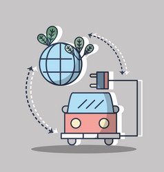 Firetruck with power cable and planet with leaves vector