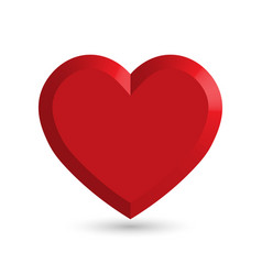 red heart 3d object with dropped shadow vector image