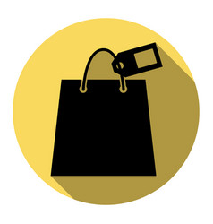 shopping bag sign with tag flat black vector image vector image