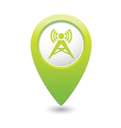 wireless icon green map pointer vector image vector image