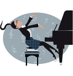 Young girl playing a piano vector image