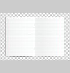 realistic blank lined copy book spread vector image vector image