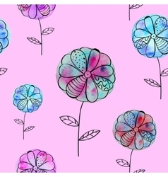 seamless pattern with violet blue flowers vector image vector image
