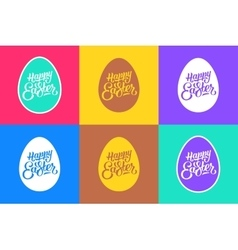 Set of flat easter greeting cards vector image