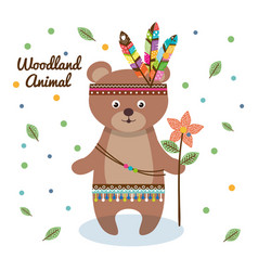 woodland animal with feather crown vector image vector image