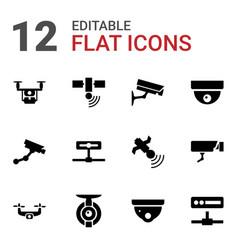 12 surveillance icons vector