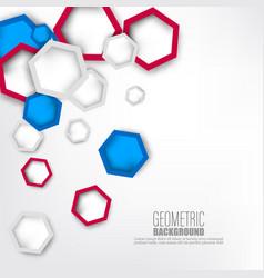 3d paper hexagons background vector image
