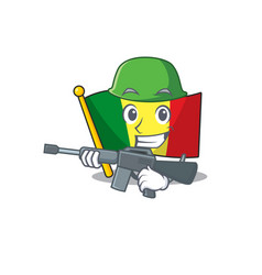 A cartoon style flag mali army with machine gun vector