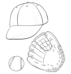 A children coloring bookpage a set of baseball vector