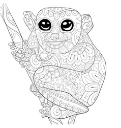 Adult coloring bookpage a cute lemur on a brunch vector