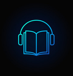 audiobook blue icon vector image