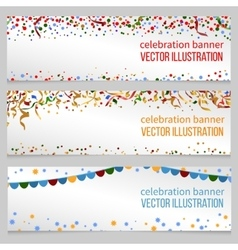 Banners with confetti set vector image