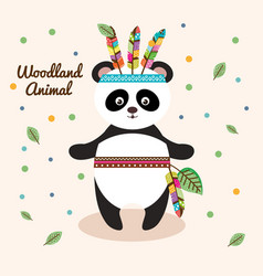 bear panda woodland animal with feather crown vector image