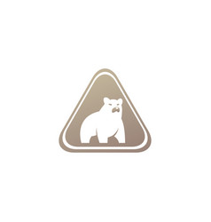 Big bear standing and looking at side logo vector