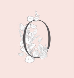 Blooming floral elegant o monogram and logo vector
