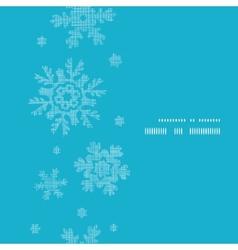 Blue lace snowflakes textile vertical frame vector