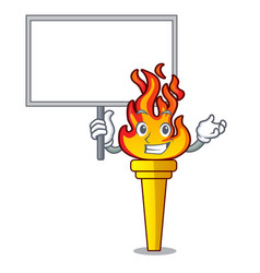 bring board torch character cartoon style vector image