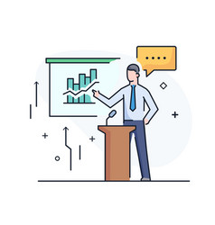 business coach at blackboard training vector image