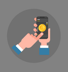business man hand hold smart phone making mobile vector image