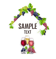card template with glasses of wine vector image