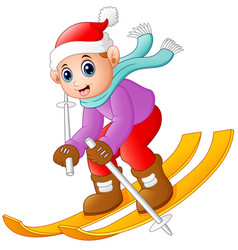 cartoon boy skiing down vector image