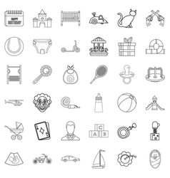 Childbearing icons set outline style vector