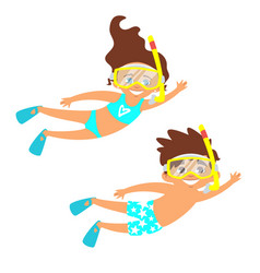 children in swim suits vector image