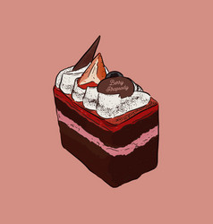 chocolate and berry cake hand draw sketch vector image