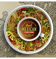 Cup of coffee and mexican doodles vector
