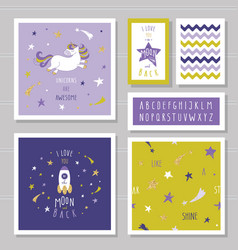 cute cards with unicorn and gold glitter stars vector image