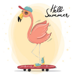 cute pink flamingo wear cap and sun glasses vector image