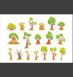 cute tree characters set funny humanized trees vector image