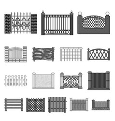 Different fence monochrome icons in set collection vector