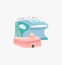 doodle flat seoul city hall vector image