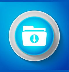 Download inbox icon isolated on blue background vector