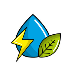 Drop of water with energy sign and leaf vector