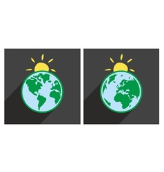 Earth with sun icon with green planet vector image