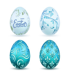 easter egg 3d icon blue eggs set isolated white vector image
