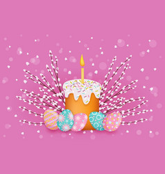 easter poster with eggs pussy-willow cake vector image