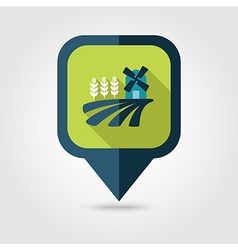 Field mill wheat flat pin map icon Map pointer vector