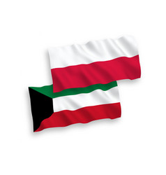 Flags kuwait and poland on a white background vector