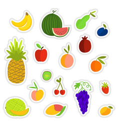 fruits stickers set vector image