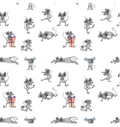 Funny animal mice seamless pattern wrapping vector