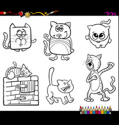 funny cat characters coloring book vector image