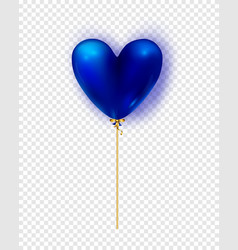 glossy blue air balloon in heart form vector image