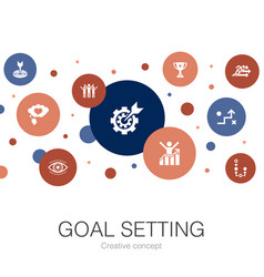Goal setting trendy circle template with simple vector