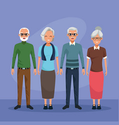 Grandparents characters smiling cartoons isolated vector