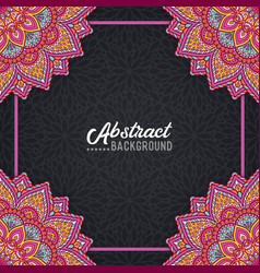 Hand-drawn mandala on the watercolor background vector