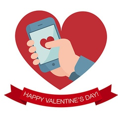 Hand holding mobile phone with heart icon vector image