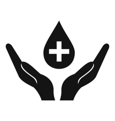 Hands holding blood drop icon simple style vector image